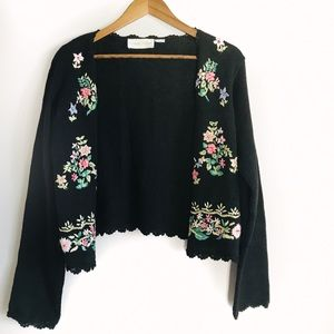 Casual Corner Knitted Floral sweater
